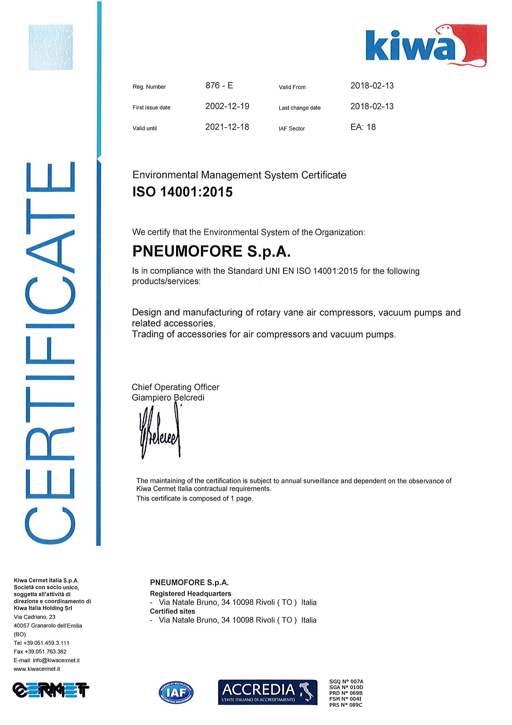 Pneumofore ISO14001 Certificate