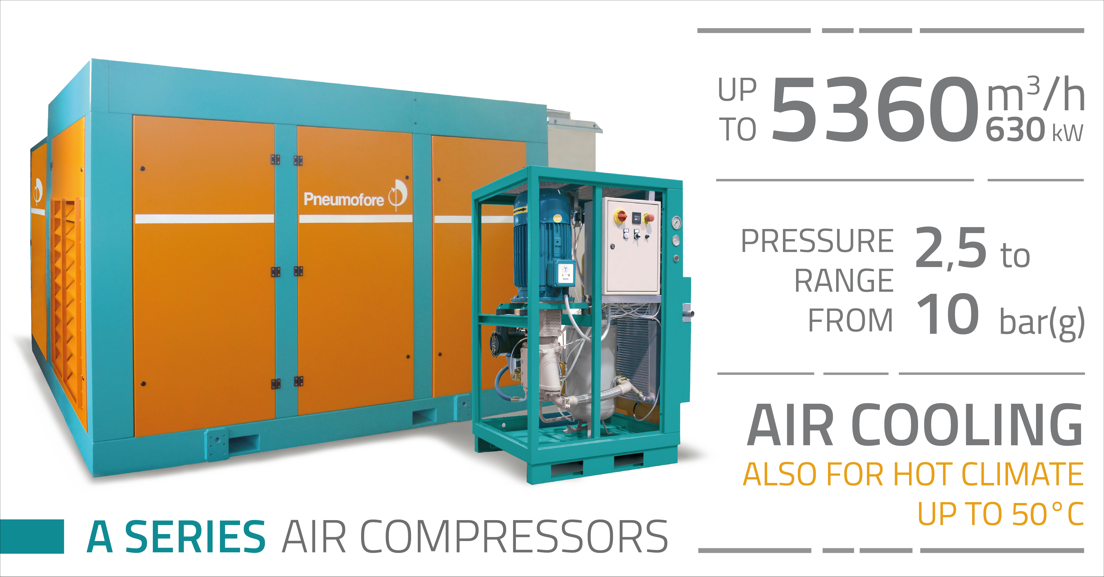 Pneumofore Rotary Vane Air Compressors - A Series