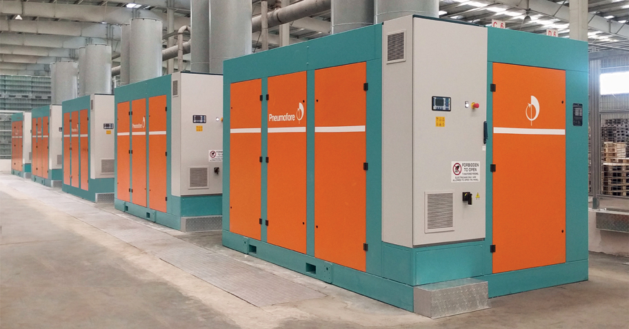 Pneumofore Rotary Vane Air Compressors - Centralized Compressed Air System for Glass Production